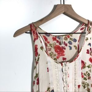 Free People racer floral lace tunic tank top boho